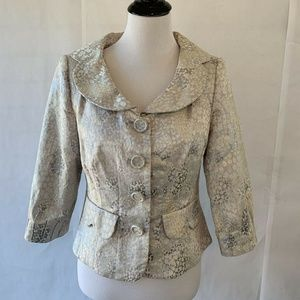 Zoey Womens Blazer Jacket Metallic Silver Floral B